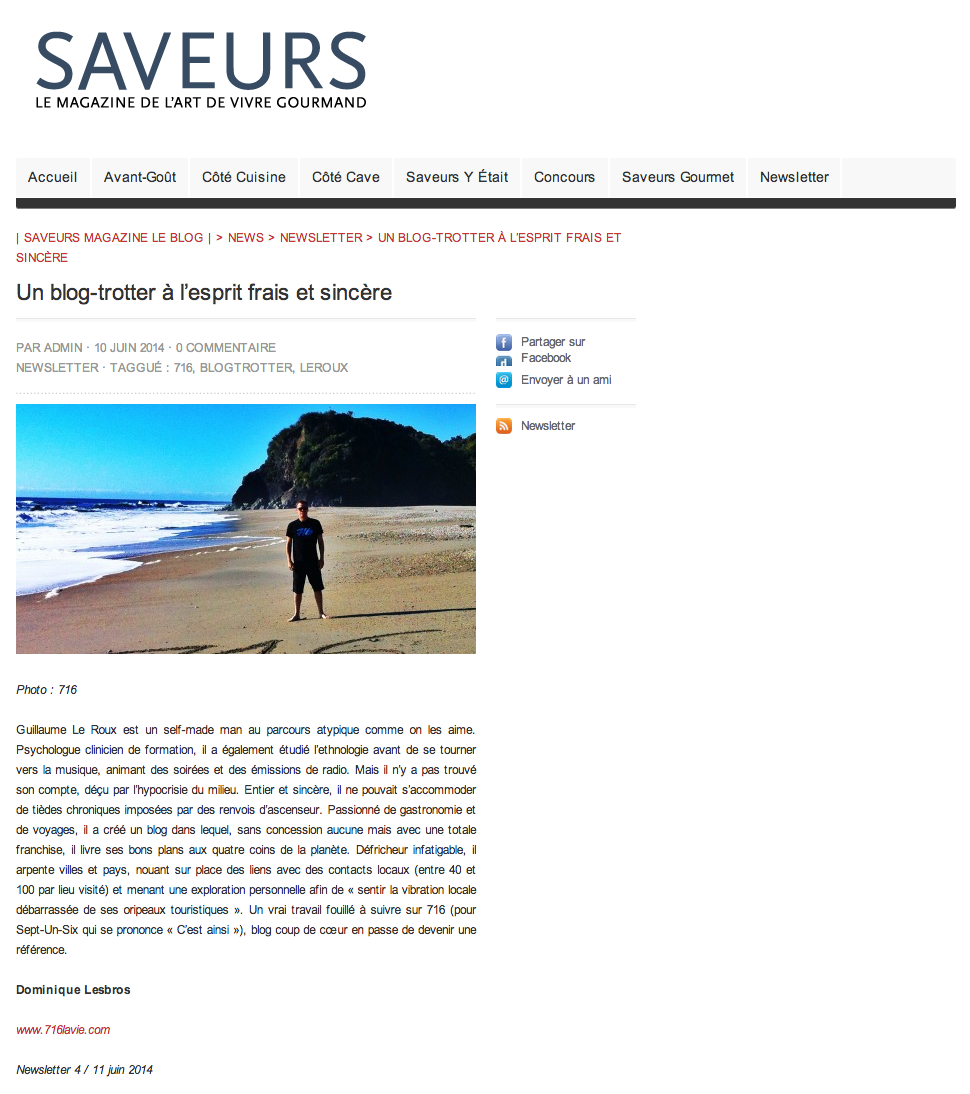 Saveurs Magazine Newsletter - 2014:06:11