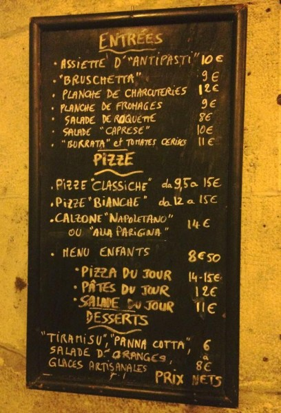 menu de la briciola